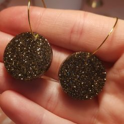 Circle gold glitter Earrings on a gold plated Hoop, Free UK Delivery
