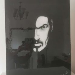 George Michael acrylic painting sealed in resin