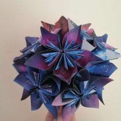 Galaxy origami flower bridal, bridesmaid, wedding bouquet