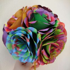Handcrafted paper rose bridal bouquet.