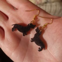 Chocolate brown glitter Dashound Dog Earrings On a gold plated hook, lovely gift for a dog lover. Free UK delivery