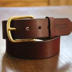 """Leather Belt with Solid Brass """"West End"""" Buckle"""