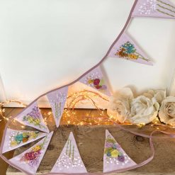 Bunting Floral Hand Embroidered Gift Czech Beads Lavender 100% Cotton Embroidery Floss Thread