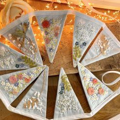 Beautiful Bunting Hand Embroidered Wedding Felt Appliqué 100% Cotton Baby Blue