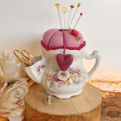 Pin Cushion Gift Sewing Set Notions Tidy Scuttle Sewing Kit Lecien Fabric Felted Heart