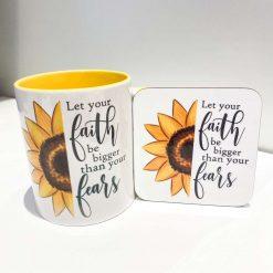 Yellow Sunflower Mug & Free Coaster