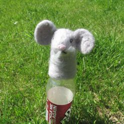 Needle felted Mouse Bottle Topper