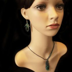 Necklace & Earring Set-Beaded Peacock Feather