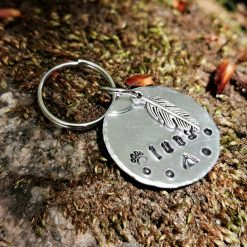Personalised Hand Stamping Keyring Dog Cat Pet Tag with Feather Charm