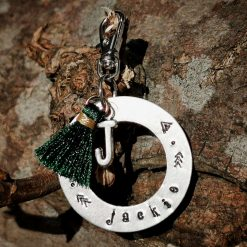 Personalised Hand Stamping Keyring Dog Cat Pet Tag with Tassel & Charm