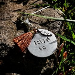 Personalised Hand Stamping Keyring Dog Cat Pet Tag with Feather & Tassel
