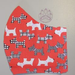 Red Patterned Scottie dog machine washable, re-usable, 2-layer fabric face mask with pocket for additional filter. 5 sizes available. Matching scrunchie available.