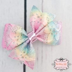 Lace Flower Rainbow Hair Bow Clip or Headband