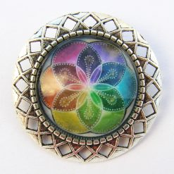 Glass Cabochon Brooch, Lovely Colours, Filigree Mount.  4 cm in Diameter, Free UK Postage