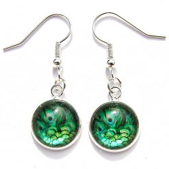 Peacock Glass Earrings with Silver Plated Ear Hooks, 2 cm Drop. Free UK Postage