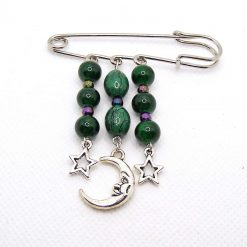 Green Medal Brooch, Glass Beads with Moon and Stars charms on a Nappy Pin Hanger, Handmade, Free UK Postage