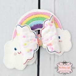 Rainbow Confetti Shaker Hair Bow Clip