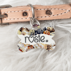 Personalised Name Dog Cat Pet ID Tag Double sided Flower Dog Tag