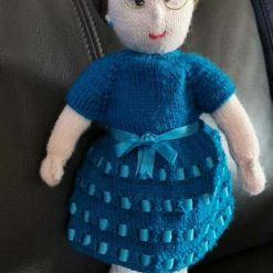 Miss Teal hand knit doll. SOLD