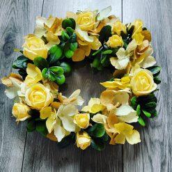 Hand made door number wreath Yellow Rose's and Hydrangeas