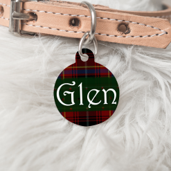 Personalised Name Dog Cat Pet ID Tag Double Sided Tartan Circle Tag