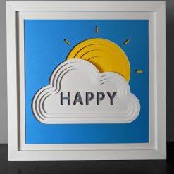 Happy Cloud + Sun Layered Art