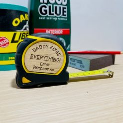 """Personalised Oak Stanley Tape Measure """"Daddy Fixes Everything!"""" - Ideal Gift for Father's Day!"""