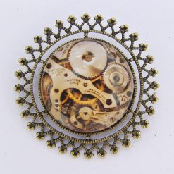 Glass Cabochon Brooch, Steampunk Style, Filigree Mount.  4 cm in Diameter, Free UK Postage