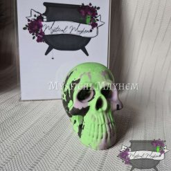 Stone look skull ornament. Green purple and black. Resin goth *made to order*