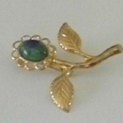 Genuine Azurmalachite Gemstone Set Flower Brooch
