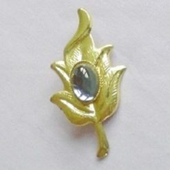 Gold Plated Leaf Shaped Brooch With Blue Cabochon