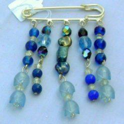 Blue Beaded Kilt Pin Brooch