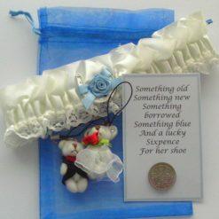Sensuous Bride's Satin Garter Gift Set.  Cream