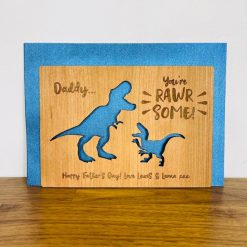 Personalised Oak 'You're Rawrsome!' Dinosaur Father's Day Wooden Card - Wood Engraved for Happy Father's Day / Dad / Grandad