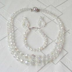 Handcrafted Bohemian AB Crystal Necklace, Bangle and Earrings Set