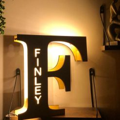 Personalised LED Wooden Night Light/Letter Lamps – Free Standing or Hangable + Free Gift