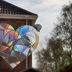 Rainbow Mix Hearts Suncatcher Window Film Prism Sticker. Sun Catcher Window Clings Decal Non Adhesive Decoration. Maker for Home, Car, Office, Caravan. Birthday Gift for Her, Mum, Nan, Kids, Friends 2