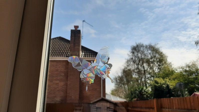 Rainbow Mix Butterfly SunCatcher Window Film Prism Sticker. Sun catcher Window Cling Decal Static Decoration.Maker Home,Car,Office,Caravan.June Gift