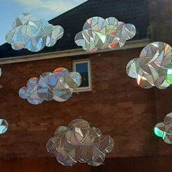 Rainbow 8 Mix Clouds Suncatcher Window Film Prism Sticker. Sun Catcher Window Clings Decal Non Adhesive Decoration. Maker for Home, Car, Office, Caravan
