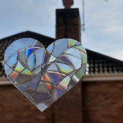 Rainbow Mix Hearts Suncatcher Window Film Prism Sticker. Sun Catcher Window Clings Decal Non Adhesive Decoration. Maker for Home, Car, Office, Caravan. Birthday Gift for Her, Mum, Nan, Kids, Friends 4