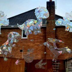 6 Mix Big Dinosaurs,TRex,Heart Shaped Suncatcher Window Film Prism Sticker.Sun catcher Window Cling Decal Static Decoration.Gift Maker for Kids.Home,Car