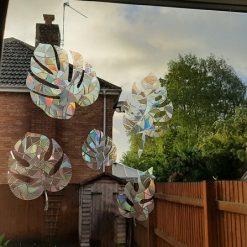 5 Mix Monstera Leaf Plants Suncatcher Window Cling Film Prism Sun catcher Window Sticker Decal Static Decoration. Maker Home,Car,Caravan.Avoid Bird Collisions