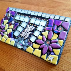 Mosaic door number slate plaque 18x10cms.Made to order.