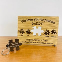 Personalised Oak Keyring & Card - Wood Engraved for Happy Father's Day, Ideal present for Daddy / Dad / Grandad