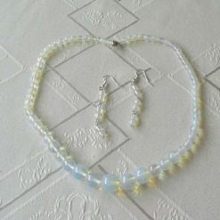 Graduated Moonstone Necklace and Earrings Set