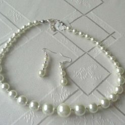 Graduated Glass Pearls Necklace and Earrings Set