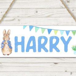 *FREE UK POSTAGE*Peter rabbit sign, nursery decor, childrens room, rabbit, hanging sign, personalised sign