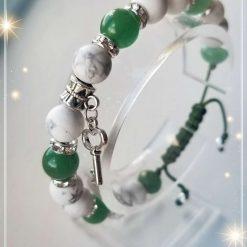 Green Aventurine and Howlite adjustable Bracelet with Key Charm