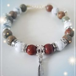 Aqua Terra Jasper and Howlite adjustable Bracelet and palm leaf Charm