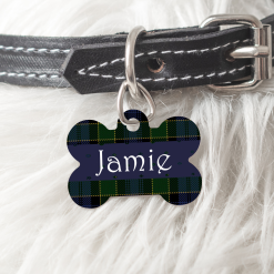 Personalised Dog Cat Pet ID Tag Double sided Green Tartan Dog Tag